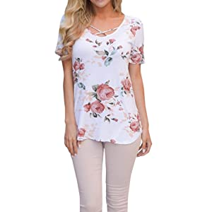 Women Floral Print Shirt , Women Loose Short Sleeve Tops , ONEMORES Crop Top Shirt Blouse (XL, White)