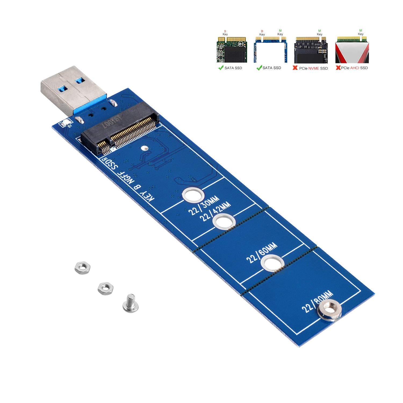 Adaptador M.2 a USB, tecla B M.2 SSD a tarjeta de lector USB 3.0, convertidor NGFF SATA compatible con SDD basado en SAT