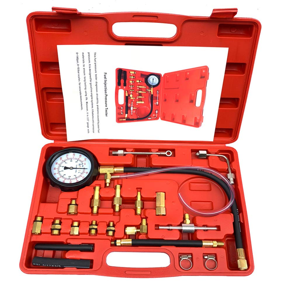 Lebeauty 140 PSI Gasoline Fuel Injection Pump Fuel Pressure Gauge Tester Test Tool Kit Car Tools for Cars & Truck Red by Lebeauty