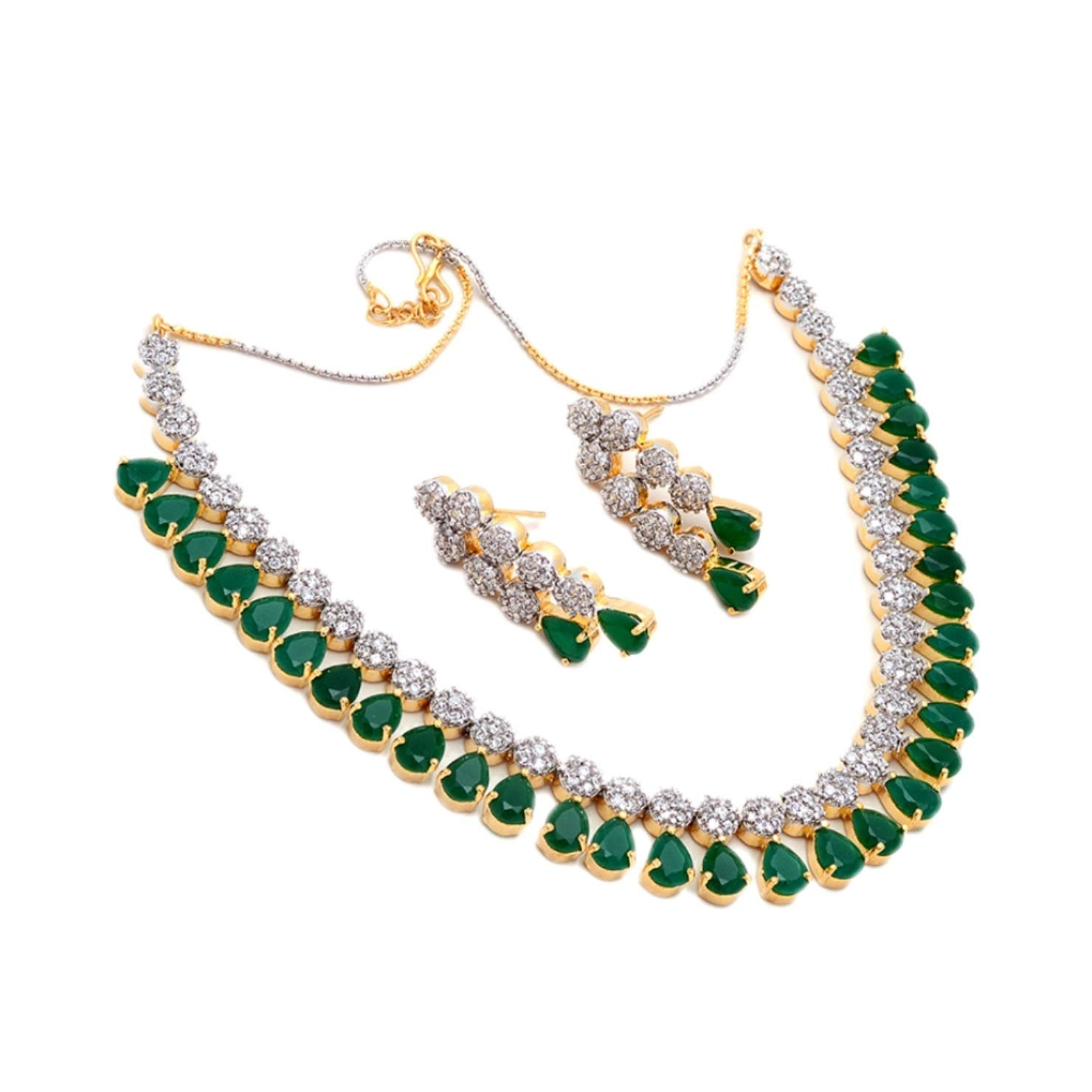 Buy Jewar Real Jewelry Gold Plated Emerald Gemstone Bridal