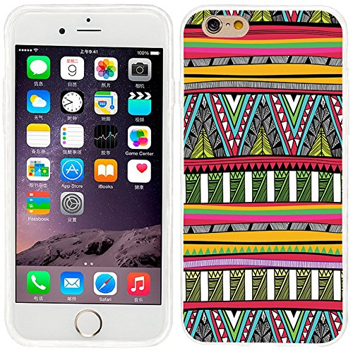 iPhone 6 plus Case, iphone 6 5.5 case,iphone6 plus case ,ChiChiC full Protective unique Stylish Case slim durable Soft TPU Cases Cover for iPhone 6 5.5 inch iphone 6+,geometric red yellow green olive sky tribal pattern