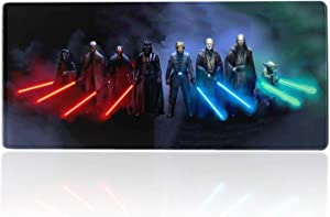 Star Wars Mouse Pad Sith Lords & Jedi Lightsaber Knights,Large Gaming Mousepad With Non-Slip Rubber Base & Stitched Edges,Laptop Desk Pad,Computer Keyboard And Mice Combo Pads Mouse Mat 23.6X11.8 Inch
