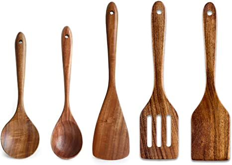 Pack de 3 en bois Cuisine Cuillères Cuisine Cuisson Mélange Ustensiles