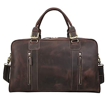 c5bcb8807 Amazon.com | Polare Mens Vintage Leather Duffel Overnight Travel Duffle  Weekender Bag (Medium 20