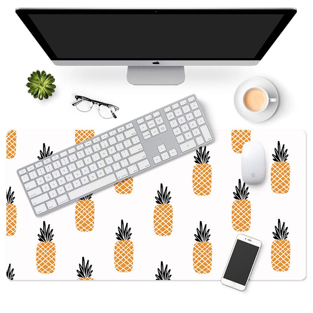 Aisakoc 大型デスクマウスパッド 35.4インチ x 16.5インチ ノンスリップ PUレザー デスクマウスマット 防水 デスクパッド プロテクター ゲームライティングマット カスタマイズパターン オフィスホームデスク用 B07KRYYFQ3 パイナップル  パイナップル