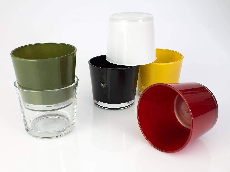 INNA-Glas Lot 2 x Bougeoir Pot /à orchid/ée Alena en Verre 2 pcs Cache-Pot en Verre Rouge 12,5cm Petit Vase Rouge /Ø 14,5cm