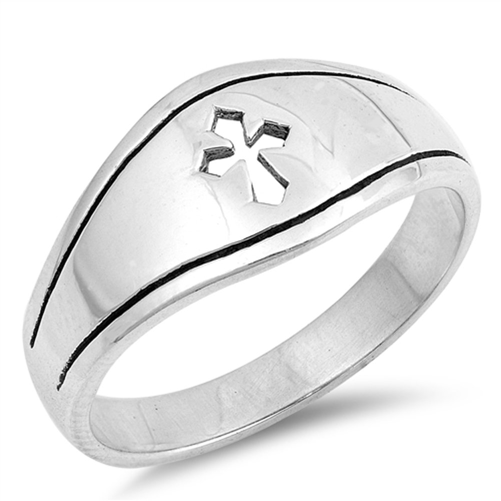Medieval Cutout Cross Christian Promise Ring 925 Sterling Silver Band Size 7