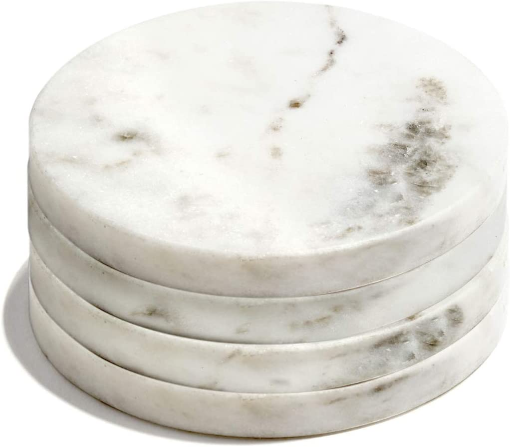 White Marble Coaster Set - Set of 4, Real Natural Stone Coasters for Drinks, 4 Inch Diameter, Round, Felt Base, Cool Mid Century Modern Decor for Coffee Table, Bar Cart or Dining Room