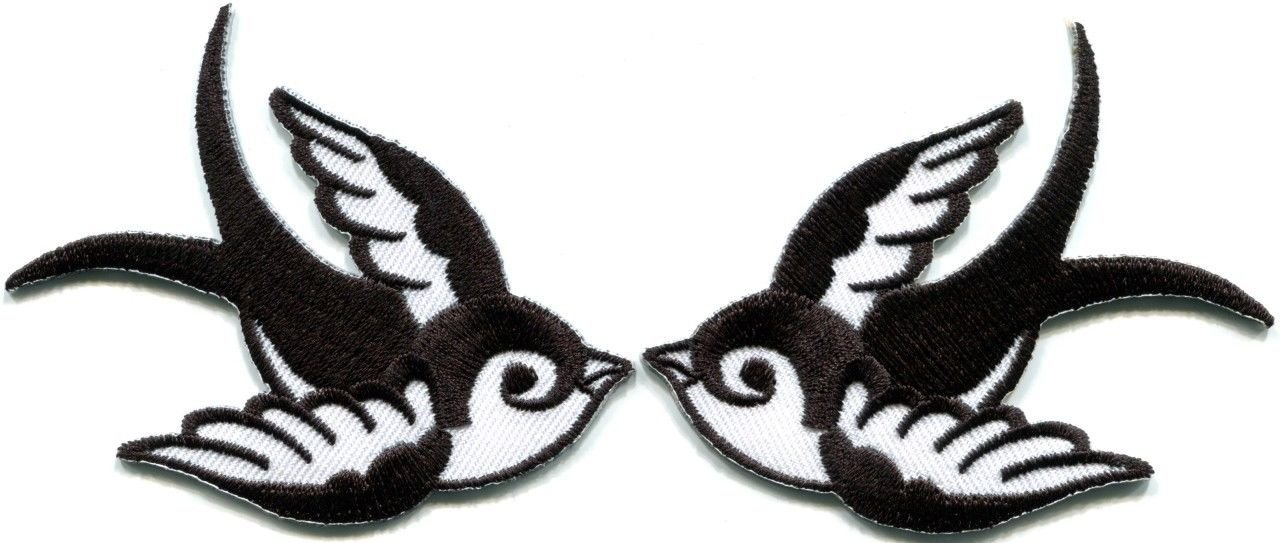 e3e64f73eb2e9 Amazon.com: Lot of 2 Bird Tattoo Swallow Dove Sparrow Appliques Iron-on  Patches White B: Arts, Crafts & Sewing