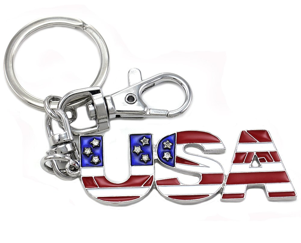 USA American Flag Keychain Key Ring Charm US Patriotic Star Clear Rhinestone Red White Blue Enamel Fashion Jewelry