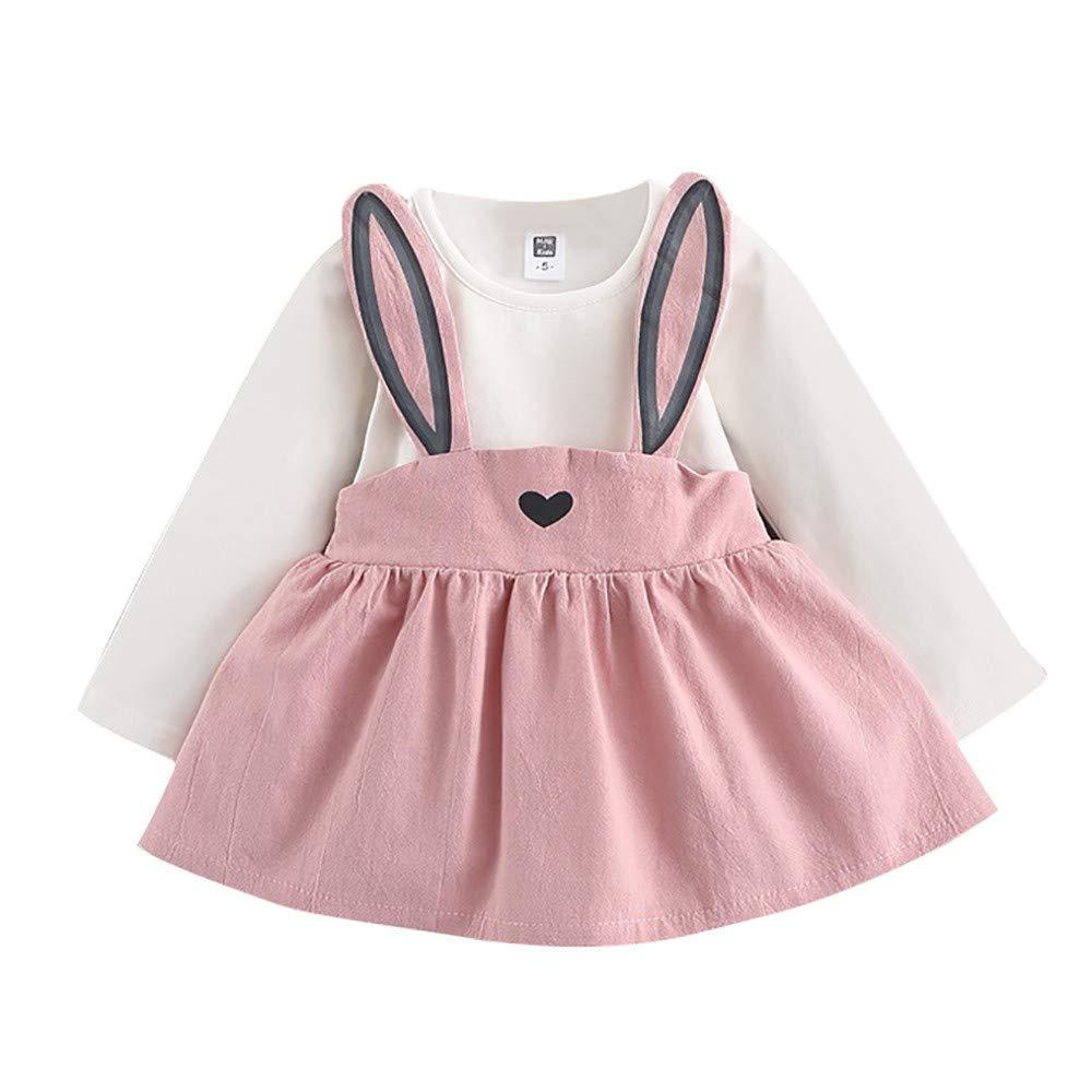 Honestyi BabyBekleidung 0 3 Jahre alt Herbst Baby Kinder Kleinkind Mädchen niedliche Kaninchen Bandage Anzug Minikleid (70,80,90,100,Rosa) Honestyi9528