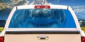 SignMission Shark 1 Rear Window Graphic Decal Tint Film Truck View Thru Vinyl
