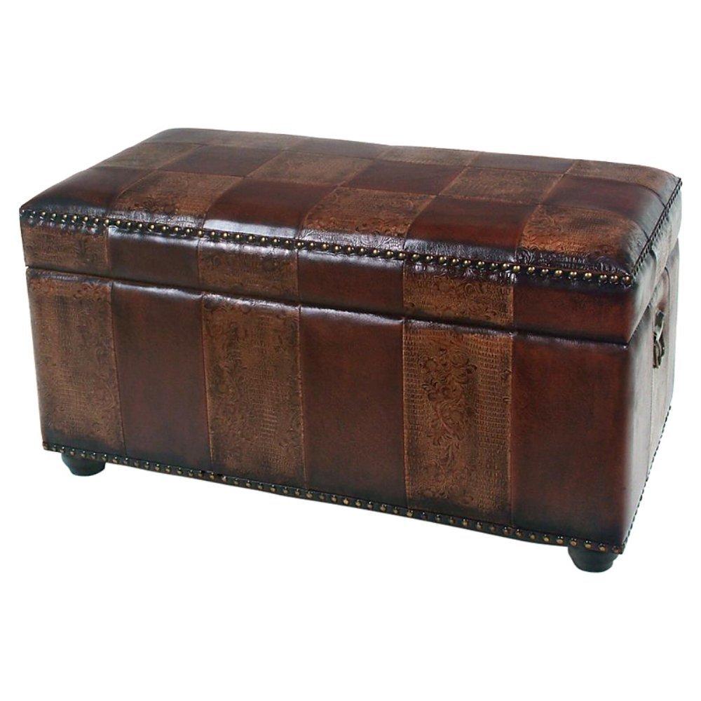 Amazon.com: International Caravan Faux Leather Bench Trunk Color   Mixed  Pattern: Kitchen U0026 Dining