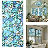 AIQI No Glue Window Film, Self-adhesive Static Sun Insulation Glass Sticker, Window Shades Privacy Stained Free Decorative 5 Styles (17.7 x 39.4inch) (Orchid)