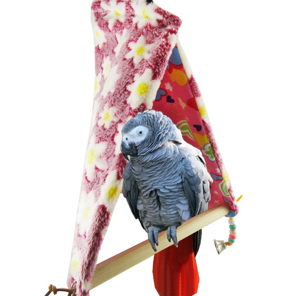 YaToy Winter Bird Perch Tent Warm Parrot Swing Hanging Medium Bird Toy Pink