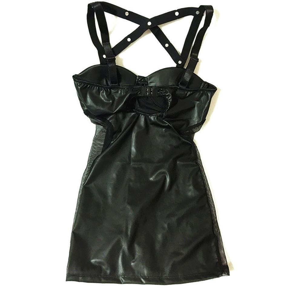 CDSS Lencería Sexy Vestido de de Fiesta de Vestido látex de PVC de látex de Cuero Negro Lencería Sexy Vestido de Club erótico Atractivo de Las Mujeres Traje de Catsuit erótico 001 L 8310de