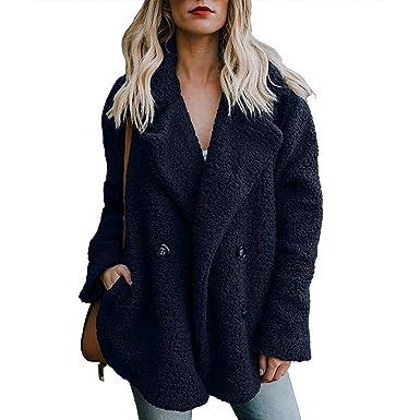 47edb536809 ZHENWEI Women Blue Lapel Shearling Jacket Faux Fur Fuzzy Cardigan Sweaters  Cute Outfits for Winter Fur