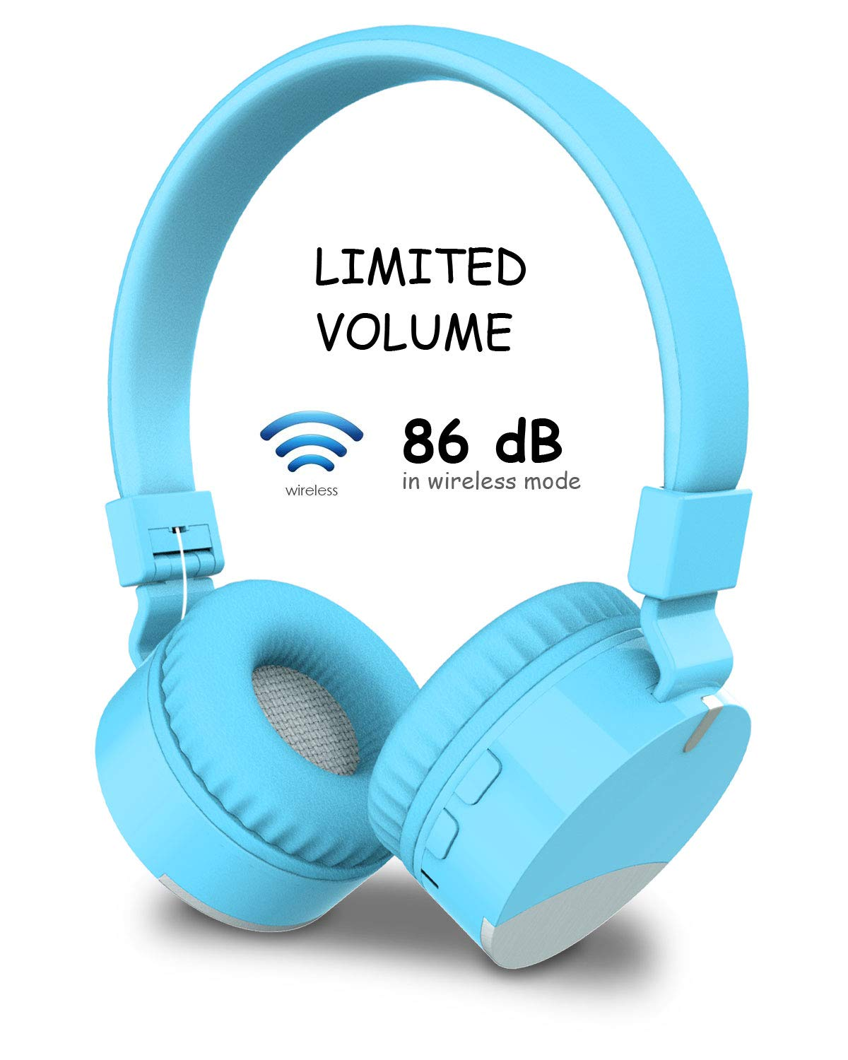 Kids Bluetooth Headphones Wireless Headsets, DHOZA Gorsun Foldable Earphones Stereo Sound Over Ear with Microphone for Girls Boys Children Compatible with iPhone/iPad/Smartphones/Laptop/PC/TV (Blue)