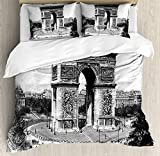 Vintage Duvet Cover Set King Size by Ambesonne, Old Photo of Auguste Vitu Monument in Paris French Heritage Retro Picture, Decorative 3 Piece Bedding Set with 2 Pillow Shams, Black and White