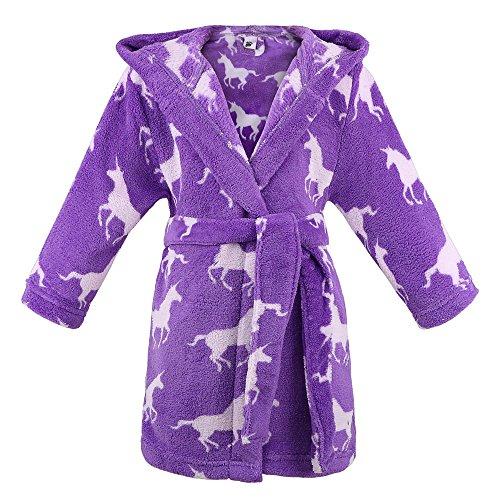 Children Hooded Printed Fleece Bathrobe Girls Robe w/Side Pockets,Unicorns,L ()