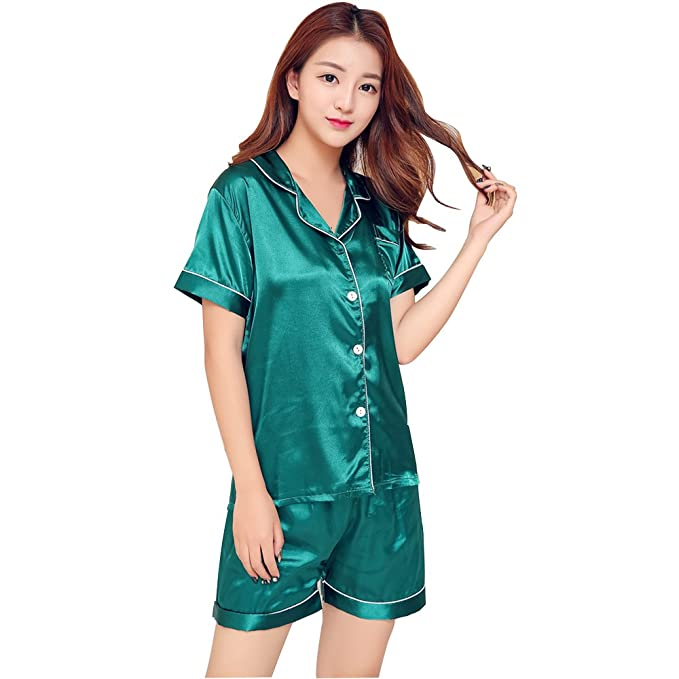 Amazon.com: Manga corta seda traje de pijama pijama con ...