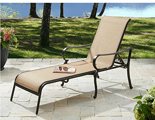 Outdoor Chaise Lounge Chair Patio Pool Furniture Poolside Deck Lounger Aluminum Frame Sling Fabric