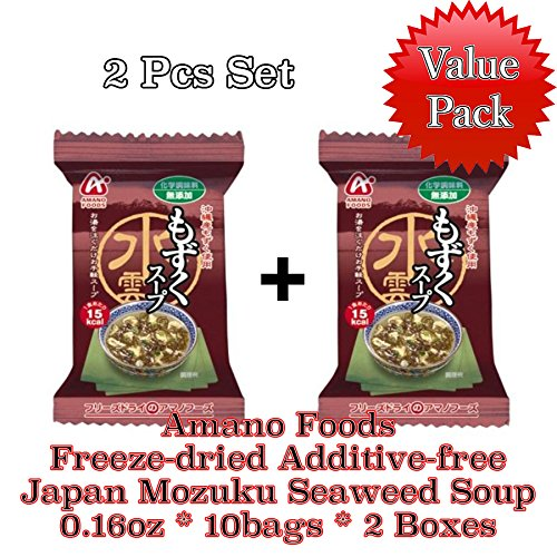 [Value Pack] Amano Foods Freeze-dried Additive-free Mozuku Seaweed Soup 2Boxes Value Set(Total 20Packs) by AMANO Foods