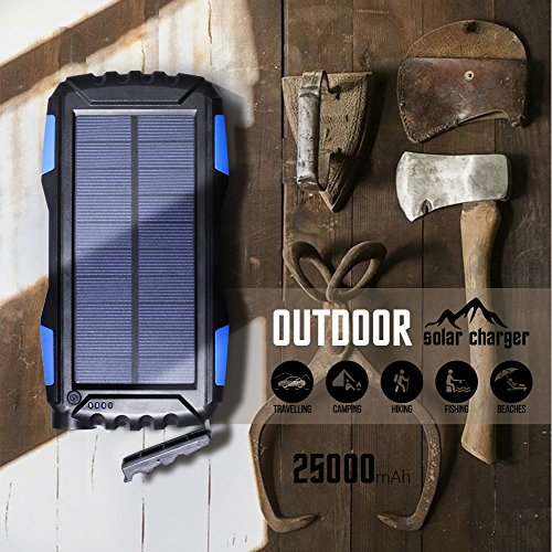 Soluser 25000mAh Portale Solar power Bank Shockproof Dustproof 21A USB reference Battery Bank Outdoor Solar Charger cellular phone External Battery Chargers by usually means of  robust LED light reference for iPad iPhone Android cellphones External Battery Packs