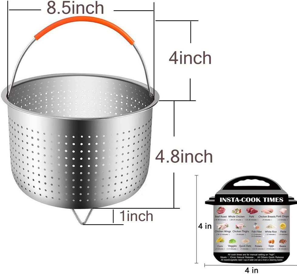 Silver Steamer Insert with Silicone Handle for Steaming Fruits ...