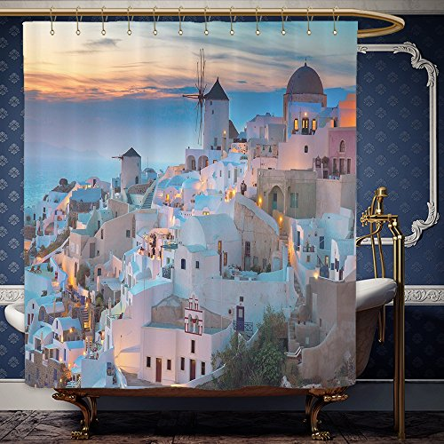 Wanranhome Custom-made shower curtain ion of Santorini Evening Panoramic Scenic Pictures for Lovely Lover Couple Greece Art Greek Aegean Sea Blue White Orange For Bathroom Decoration 69 x 84 inches