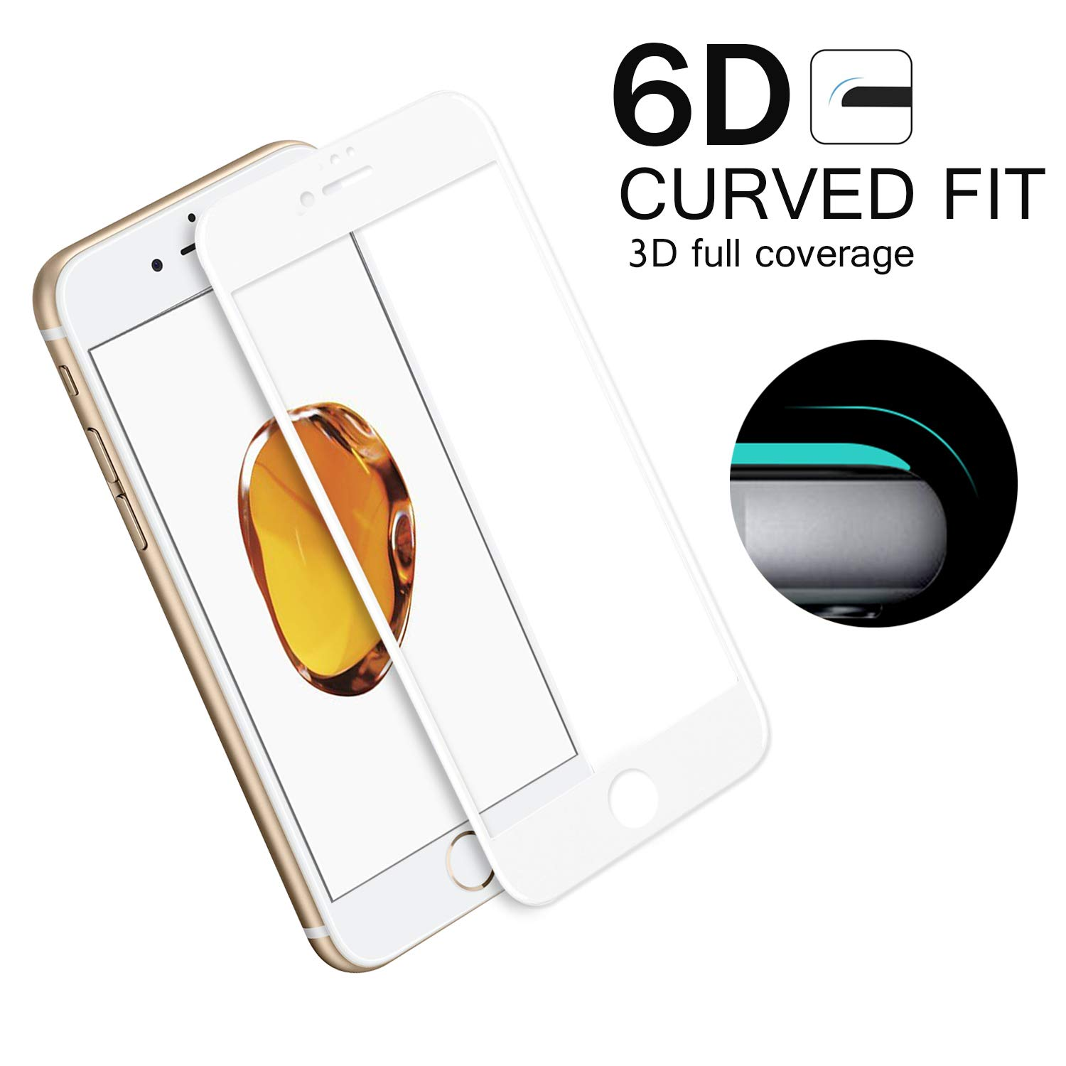 iPhone 6 / 6S Screen Protectors 9H Full Glue Edge to Edge 6D Tempered Glass