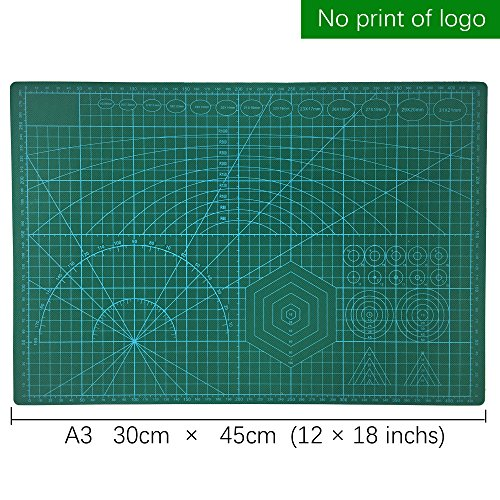 Cut pad Cutting mat Metric'' A3 Double Sided Self Healing 5 Layers Cutting Mat,PVC Cutting Mat Great for Scrapbooking,Sewing Quilting, and All Arts & Crafts Projects 12'' x 18'',30cm x 45cm, Green by MidZoo