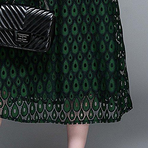 A Kleider Damen Arm YL71613 Linie Partykleid 3 4 Grün Hohl Reine Spitze E Cocktailkleid girl Kleid Midi HOqvv4