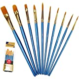 Xubox Paint Brushes Set, 10 Pieces Round Pointed Tip Nylon Hair Artist Acrylic Paintbrushes, Paint Brushes for Acrylic Painti
