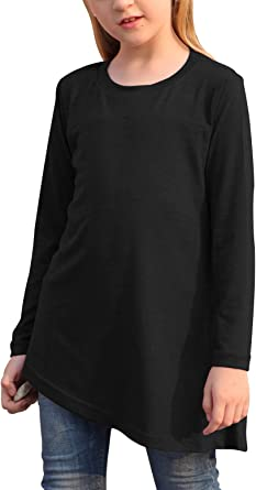 Eytino Girls Long Sleeve T Shirts Casual Solid Button Side Loose Crew Neck Tunic Tops Size 4-13