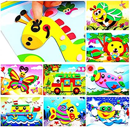1x DIY Cartoon Animal 3D EVA Foam Sticker Puzzle Toys for Kids Styles Random  Nq
