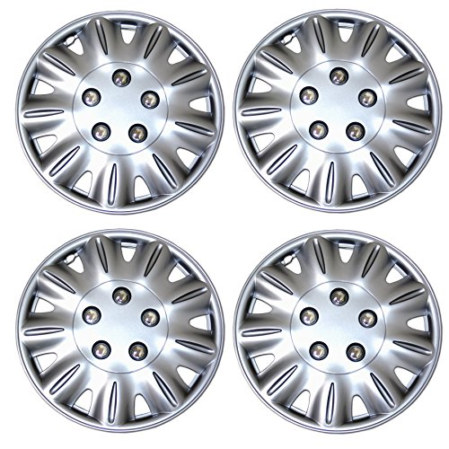 TuningPros WSC3-029S15 4pcs Set Snap-On Type (Pop-On) 15-Inches Metallic Silver Hubcaps Wheel Cover
