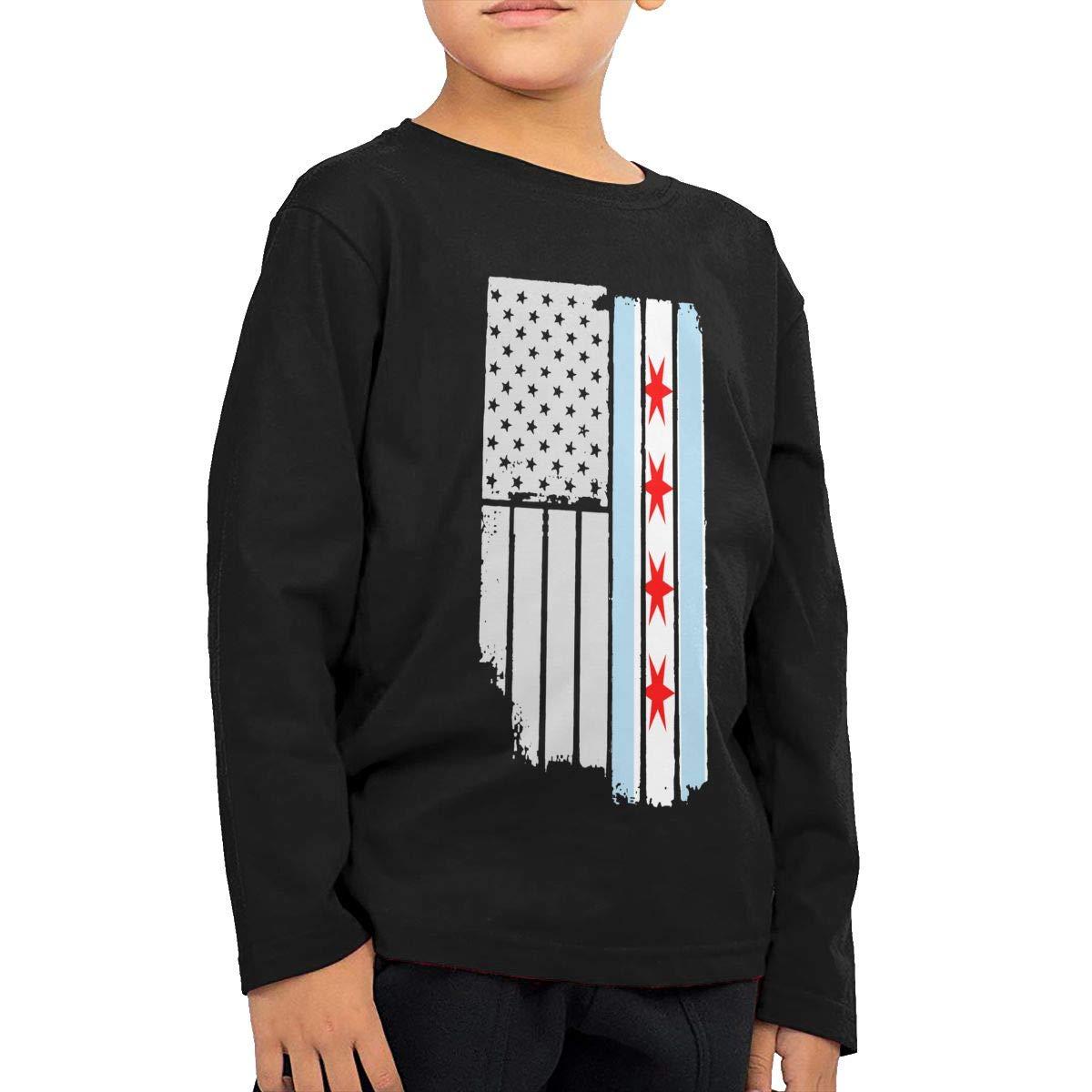 USA Vintage Chicago Flag Novelty Toddler Kid Baby Boys Girls Long Sleeve Tee Clothing