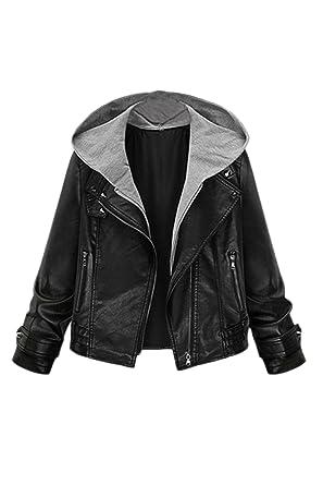197bef24205 Zilcremo Women Casual Motorcycle Punk PU Leather Zip Up Biking Short Hooded Blazer  Jacket Outcoat Plus