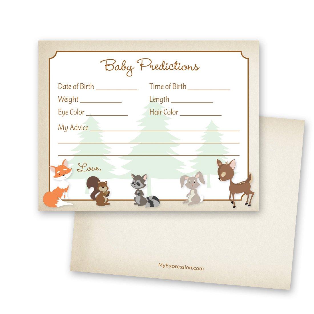 48 Cnt Woodland Animals Baby Prediction Cards