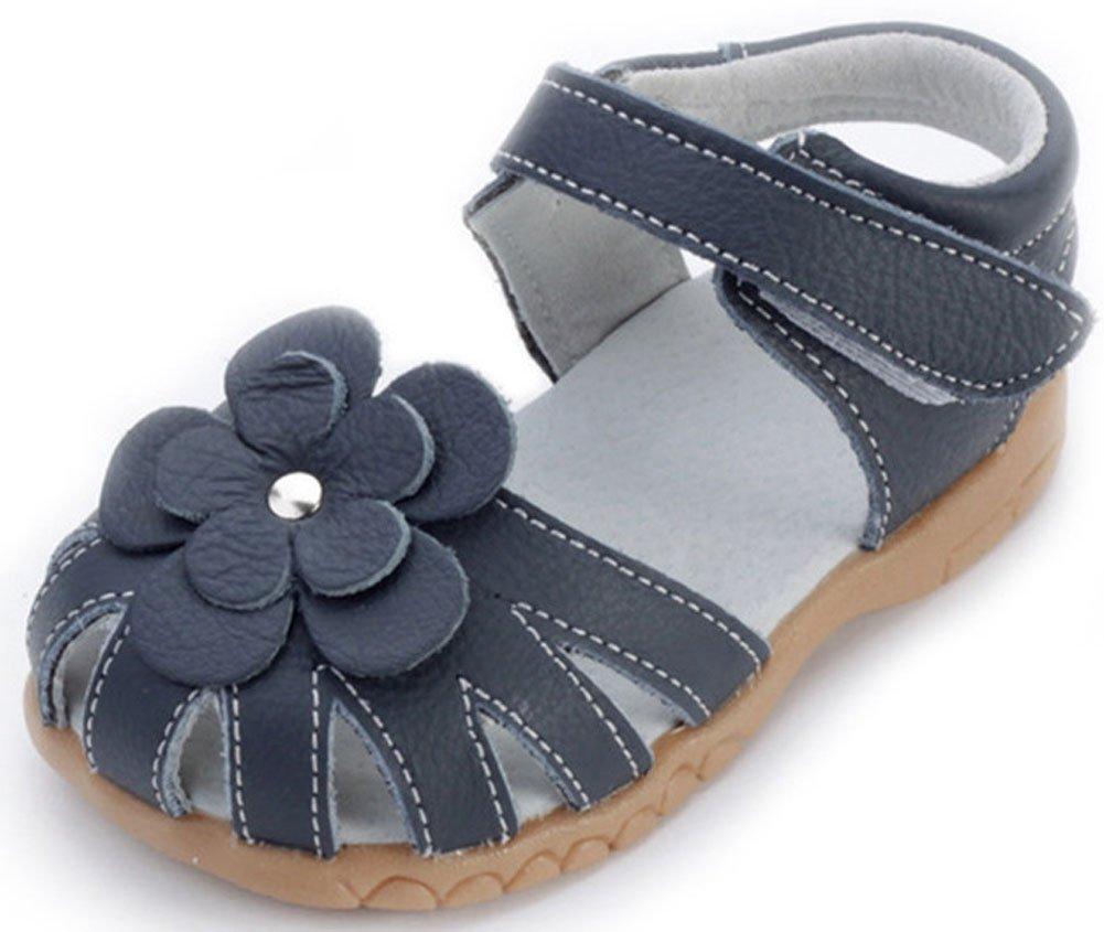 Femizee Girls Genuine Leather Soft Closed Toe Princess Flat Shoes Summer Sandals(Toddler/Little Kid),Deep Blue,1504 CN22