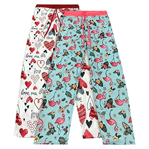 Real Essentials 2 Pack Women's Super-Soft Pajama Pants - Love Me/Pink Flamingo -L (Lounge Pants Jeans)