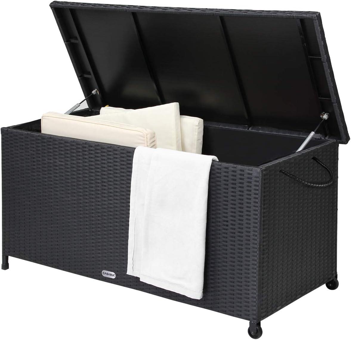 Casaria Baúl de almacenamiento de poliratán con ruedas asas y tapa revestimiento interior impermeable resistente UV jardín