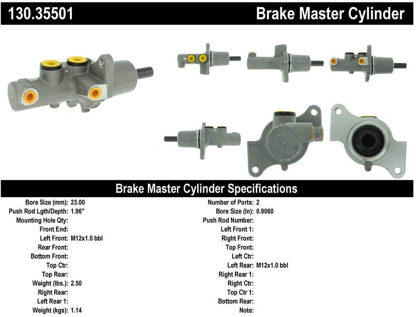 Centric 130.35501 Premium Brake Master Cyl