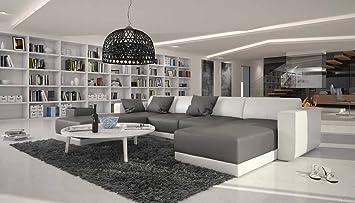 Wunderbar SalesFever XXL Wohn Landschaft Mit Kunstleder Bezug 340x220 Cm U Form Grau/ Weiß