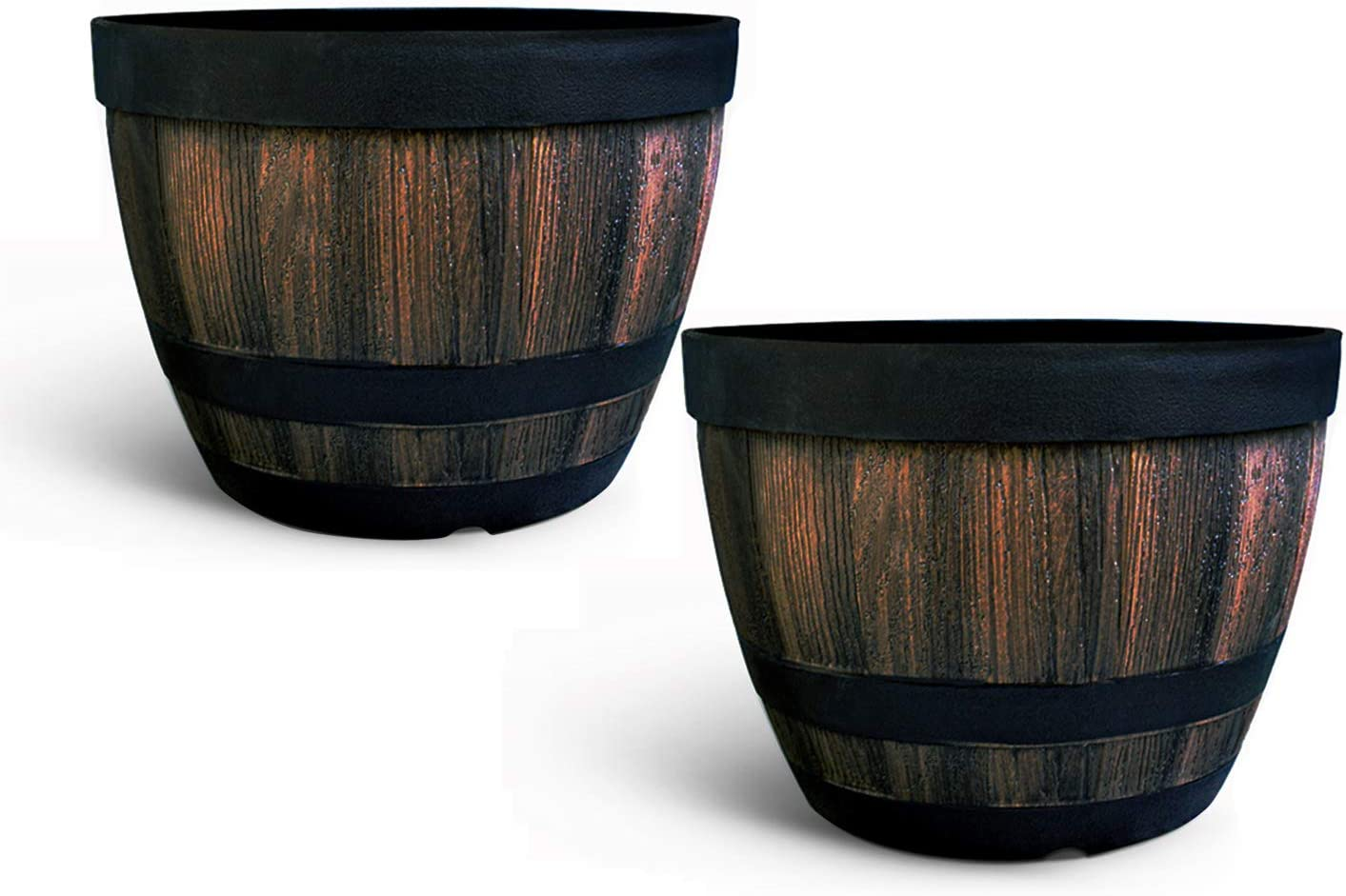 Flower Pots Outdoor Indoor Garden Planters,Plant Containers with Drain Hole, Ideal for Plants,Gardens, Patios, Imitation Wooden Barrel Design-9 Inch Wine Barrel Basin??2 Piece?