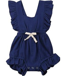 068e39bc VISGOGO Toddler Baby Girl Ruffled Rompers Sleeveless Cotton Romper Bodysuit Jumpsuit  Clothes