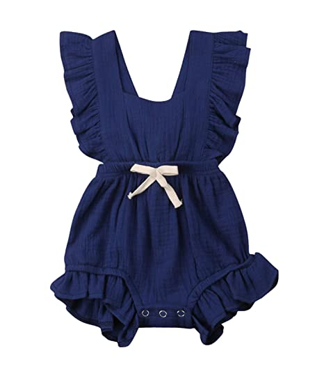 7eabac0e7d44 VISGOGO Toddler Baby Girl Ruffled Rompers Sleeveless Cotton Romper Bodysuit Jumpsuit  Clothes (0-6