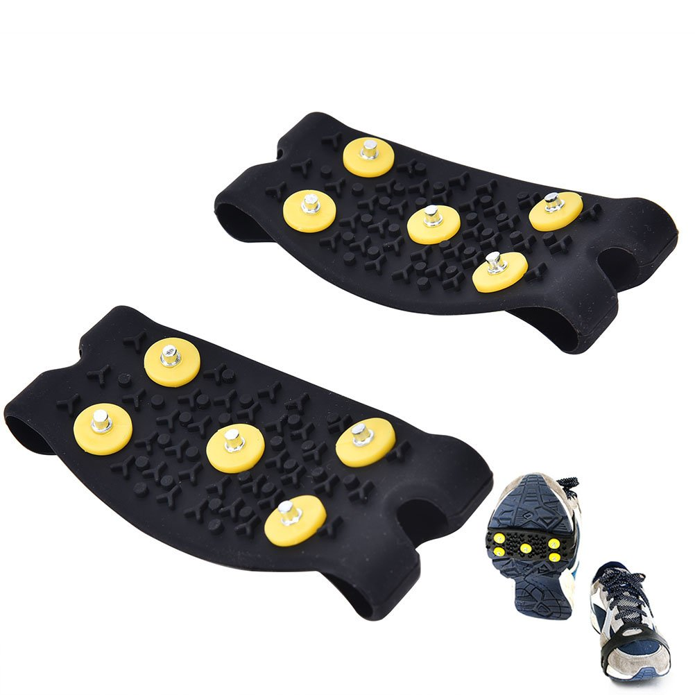Ioffersuper 1 Pair Snow Ice Climbing Anti Slip Spikes Grips Shoes Cover