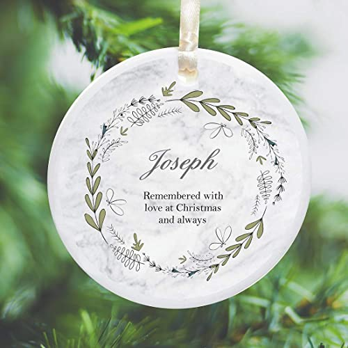 In Loving Memory Personalized Remembrance Ceramic Hanging Christmas Tree  Ornament Bauble – Watercolour Wreath Design - - Amazon.com: In Loving Memory Personalized Remembrance Ceramic